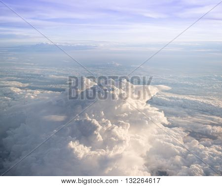 Cloudy weather sky with sunlight stock photo