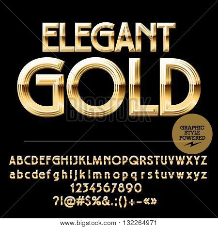 Royal golden set of alphabet letters, numbers and punctuation symbols. Vector luxury logotype with text Gold