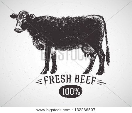 Graphical silhouette cow and inscription. Vector illustration, drawn by hand. Can be used as labels and packaging.