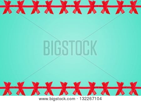 Elegant Blue Background With Red Bow.