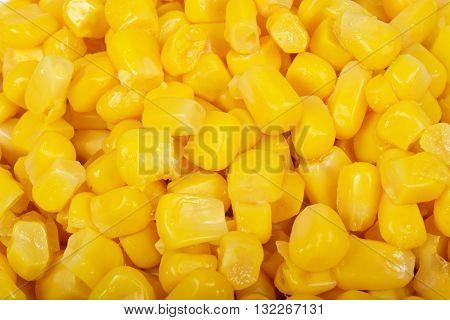 Fresh yellow sweet corn kernels food background.