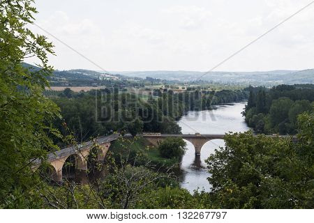 Bridges cross the waters of France's Dordogne River