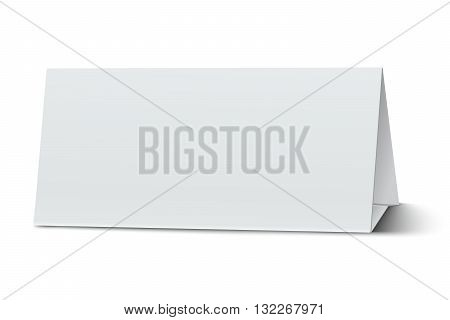 Horizontal elongate oblong blank paper table card isolated