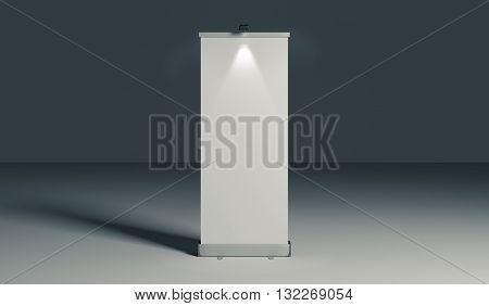 Presentation banner or rollup at night. 3D Illustration.