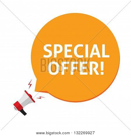 Spacial offer vector illustration isolated on white background, flat megaphone promoting special offer on orange speech bubble, cartoon advertising design