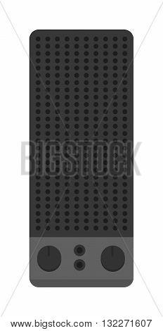 Music speakers isolated on white background and music speakers vector icon. Flat music speakers audio, loudspeaker bass stereo equipment music speakers. Studio entertainment electronic music speakers.