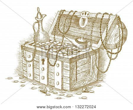 Treasure chest drawn by hand on a white background