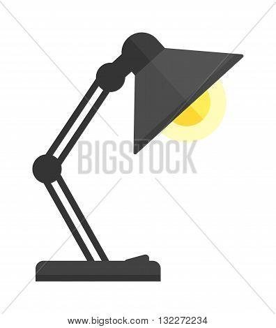 Black desk lamp isolated on white background. Black lamp vector and light lamp power energy design. Black lamp electricity light electric object. Flat illuminated metal interior lamp.
