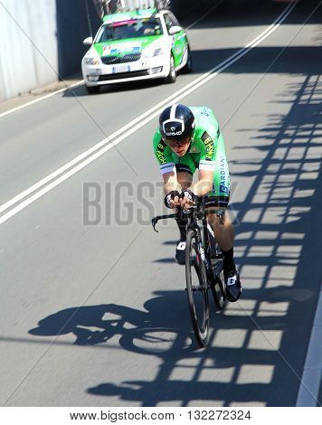 APELDOORN, NETHERLANDS-MAY 6 2016: Simion Paolo of pro cycling team Bardiani - CSF during the Giro d'Italia prologue time trial.