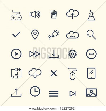 Technology Web Icon Set Design. Easy to manipulate, re-size or colorize.