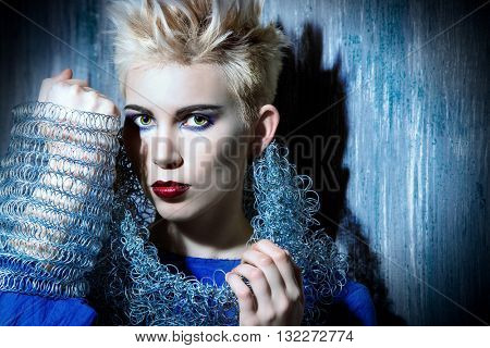 Avant-garde fashion clothing collection. Punk Style. Futurism. Studio shot.