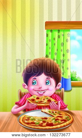 Pizza Rhyme for kids, Boy Enjoying Pizza