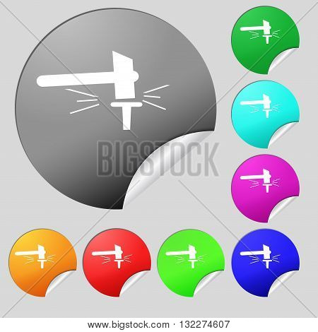 The Smithy. Forge And Stithy, Blacksmith Icon Sign. Set Of Eight Multi Colored Round Buttons, Sticke