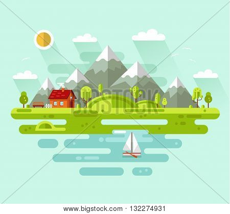 Flat design vector nature summer landscape illustration with house, bench, sun, hills, mountains, sailing boat, sea or ocean, clouds, trees.