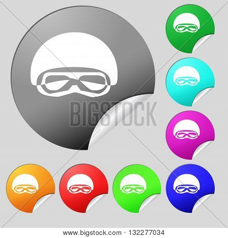 In A Ski Masks, Snowboard Ski Goggles, Diving Mask Icon Sign. Set Of Eight Multi Colored Round Butto