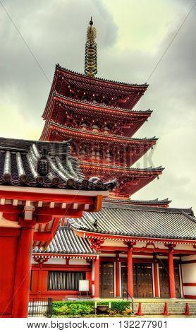 Five-Storey Pagoda of Senso-ji Temple, Asakusa, Tokyo - Japan
