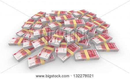 Huge pile of random Chinese 100 RMB bills isolated on white 3D illustration