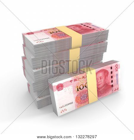 Small pile of chinese rmb isolated on white 3D illustration