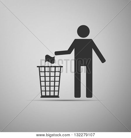 Recycle icon, man throwing trash into dustbin icon. Vector illustration