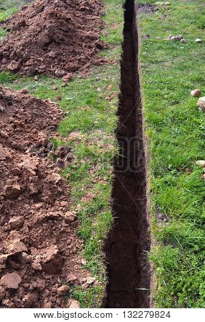 very narrow trench in summer farm yard through grass for water pipe