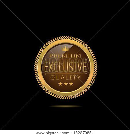 Exclusive premium quality. Golden badge, Golden premium quality label with stars and crown