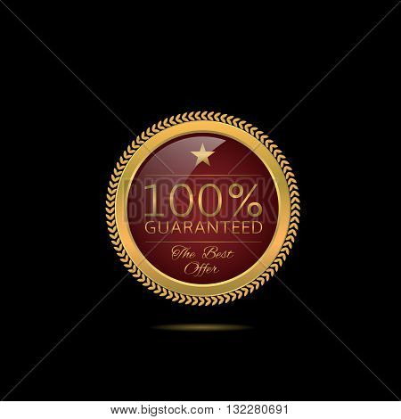 Golden Guarantee label. Luxury guaranteed. Golden badge with red background