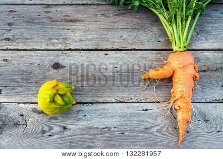 Top flat lay view of trendy ugly organic carrot and lemon from home garden on barn wood table Australian grown.