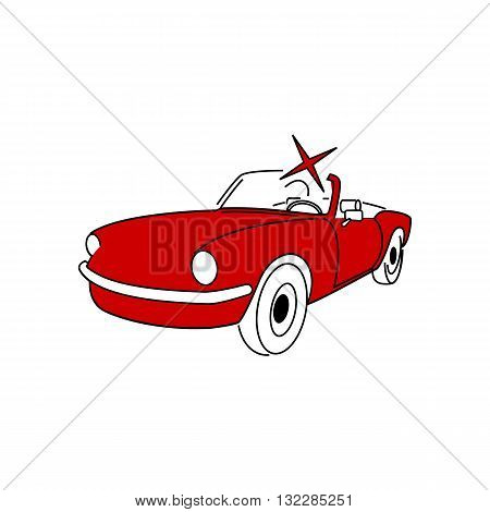 Beautiful red oldtimer cabriolet with sparcle vector illustration isolated on white background.