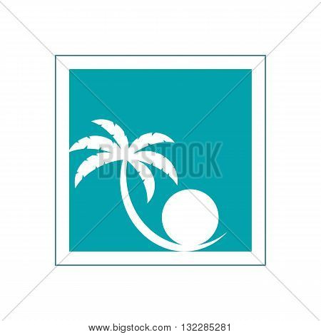 Stylized palm tree and perl inside blue frame vector illustration isolated on white backgorund.