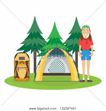 Travel hiking concept. Forest holidays composition. Girl standing near tent. Camping. Forest rest. Vector illustration. Flat cartoon style