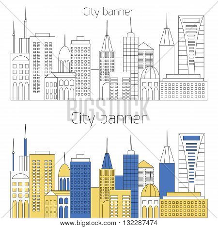 City banner. Urban concept. Megapolis city illustration with buildings, skyscrapers and temples. Silhouette cityscape. Vector illustration by thin line style. City background