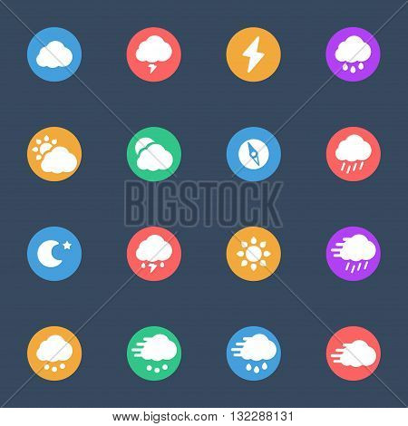 Meteo icons flat vector set 0f 16