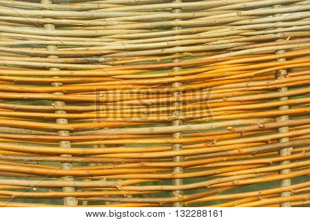 Fragment of willow wickerwork traditional wattle of natural material on green background