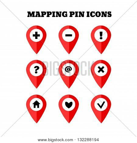 Map pointer icon set with simbols. GPS location sign. Flat design style. Isolated On White