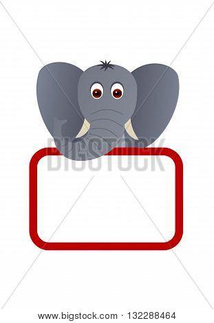 Big cute elephant with a blank board.