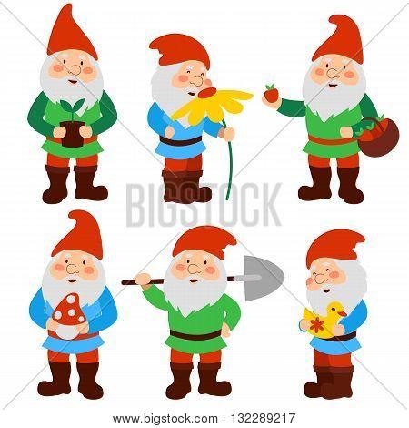 A set of cartoon garden gnomes. vector