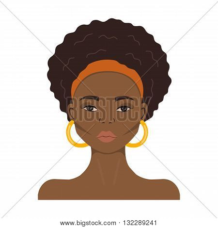 Black woman face. African American girl. Avatar.