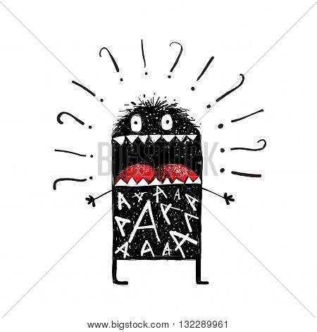 Ugly black funny creature, bizarre hesitant character. Hand drawn vector illustration