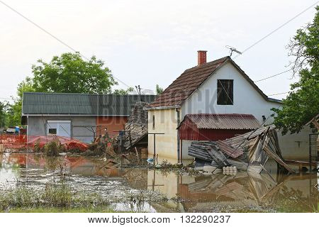 Flooded and Ruined Houses in Floods Natural Disaster