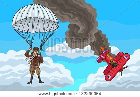 The pilot managed to escape by parachute from the burning aircraft. poster