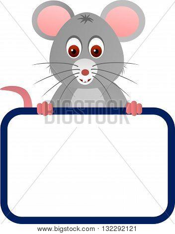 Cartoon cute mouse with a blank board