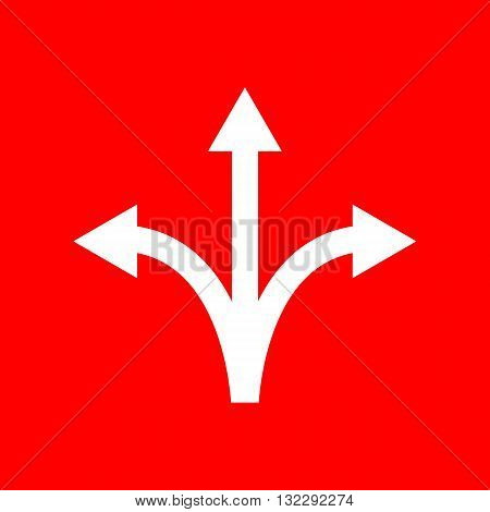 Three-way direction arrow sign. White icon on red background.