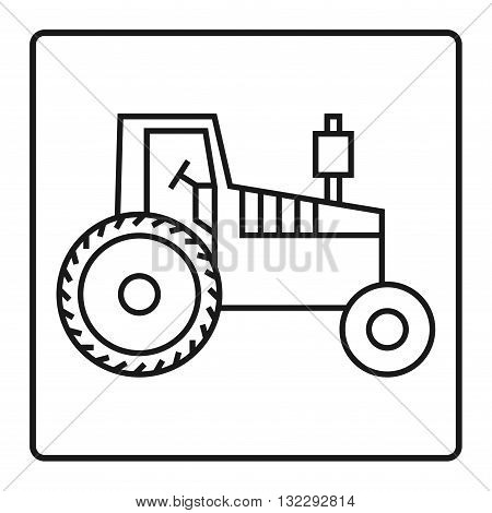 Tractor on white background icon or sign, vector illustration