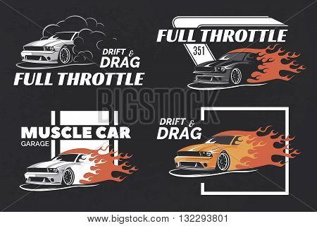 Set of muscle logo badges and emblems on dark grunge background. Service car repair car restoration and car club design elements. T-shirt design. American muscle car for printing.