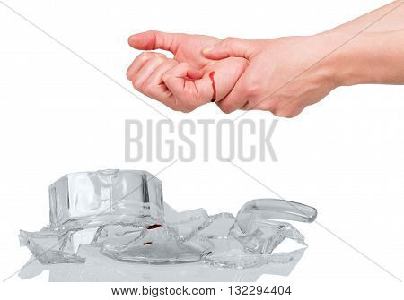 Hand wounded by shrapnel glass isolated on white background.
