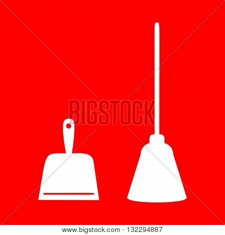 Dustpan vector sign. Scoop for cleaning garbage housework dustpan equipment. White icon on red background.