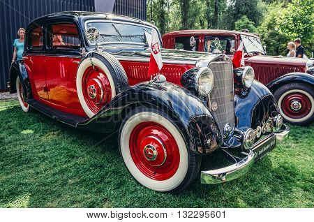Warsaw Poland - August 2 2015: Mercedes W143 230 from 1937 during retro cars show in Warsaw