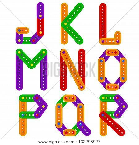 alphabet from constructor from J to R - vector illustration, eps