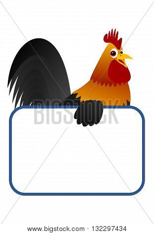 Cute cartoon cock holding a blank board.