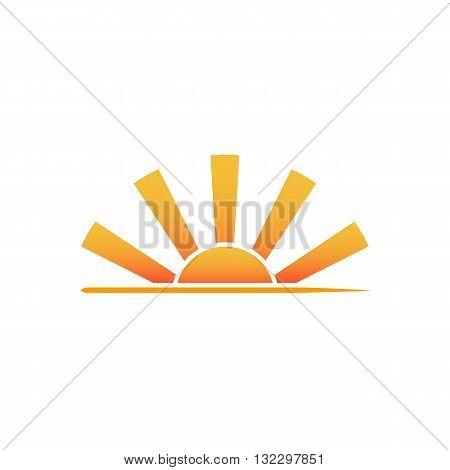 Sunrise landscape logo vector illustration isolated on white background.
